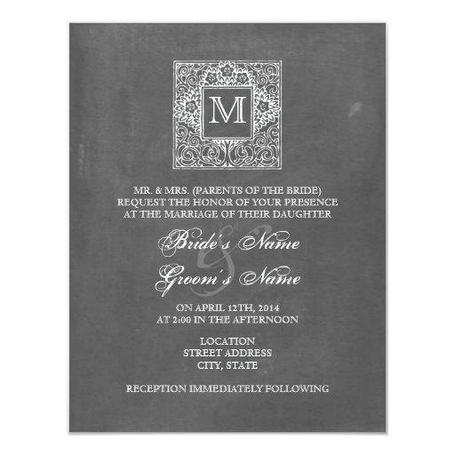 El boda inspirado pizarra del monograma invita invitación 10,8 x 13,9 cm