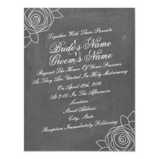 """El boda inspirado tiza inclinado de los rosas invitación 4.25"""" x 5.5"""""""