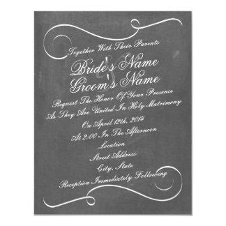 """El boda inspirado tiza simple de los remolinos invitación 4.25"""" x 5.5"""""""