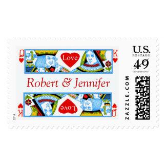 El boda invita al rey y a la reina del franqueo de timbre postal