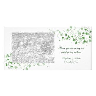 El boda irlandés del trébol le agradece las tarjet tarjetas fotograficas personalizadas