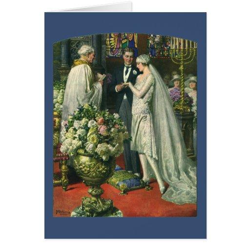 El boda, la novia y el novio de la iglesia del tarjeta pequeña