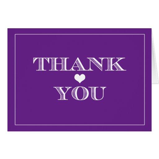 El boda lindo púrpura del corazón le agradece las tarjeta de felicitación
