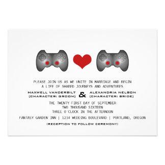 El boda lindo rojo del videojugador invita anuncios personalizados
