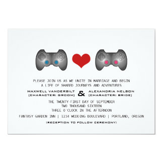 """El boda lindo rosado azul del videojugador invita invitación 5"""" x 7"""""""