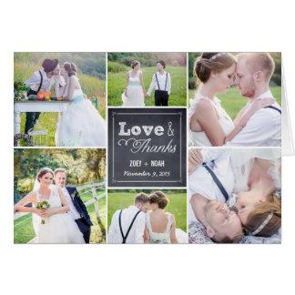 El boda marcado con tiza del collage le agradece c tarjeta pequeña