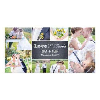 El boda marcado con tiza del collage le agradece l tarjetas fotográficas personalizadas