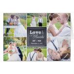 El boda marcado con tiza del collage le agradece tarjeta pequeña