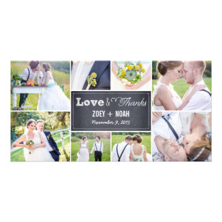 El boda marcado con tiza del collage le agradece tarjetas fotográficas personalizadas