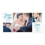 El boda moderno de la caligrafía le agradece carda tarjeta fotografica personalizada
