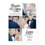 El boda moderno de la caligrafía le agradece carda postal