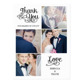 El boda moderno de la caligrafía le agradece tarjeta postal