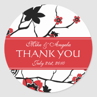 El boda moderno de la flor de cerezo le agradece pegatina redonda