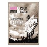 El boda moderno de Las Vegas de la sepia del Invitaciones Personalizada