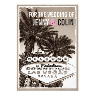 El boda moderno de Las Vegas de la sepia del vinta Comunicado Personalizado