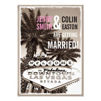 El boda moderno de Las Vegas de la sepia del vinta Anuncio Personalizado
