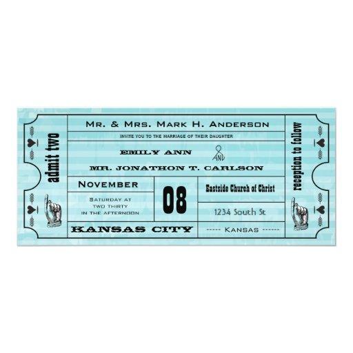 El boda moderno del boleto de la tipografía del invitación 10,1 x 23,5 cm
