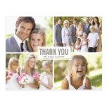 El boda moderno del collage de la foto le agradece tarjeta postal
