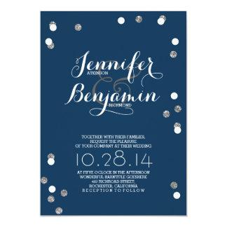 """El boda moderno del confeti de los azules marinos invitación 5"""" x 7"""""""