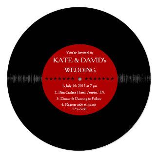 El boda moderno del disco de vinilo retro invita invitación