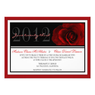 El boda moderno del rosa rojo invita