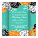El boda moderno floral de encargo invita invitación 13,3 cm x 13,3cm