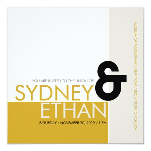"""El boda moderno minimalista simple de Mondrian Invitación 5.25"""" X 5.25"""""""