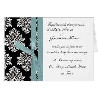 el boda monótono del damasco invita a la cinta del tarjeta de felicitación
