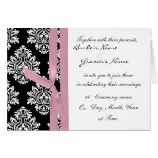 el boda monótono del damasco invita a la cinta tarjeta de felicitación