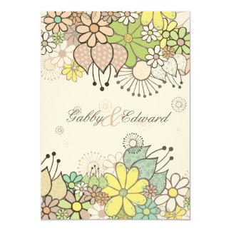 """El boda natural suave del jardín de flores invita invitación 5"""" x 7"""""""