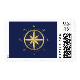 El boda náutico azul sella el compás del oro sellos postales