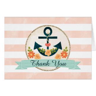 El boda náutico de la marina de guerra coralina tarjeta de felicitación