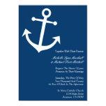 El boda náutico del ancla del barco invita (azul invitación 12,7 x 17,8 cm