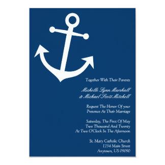 El boda náutico del ancla del barco invita (azul anuncios personalizados