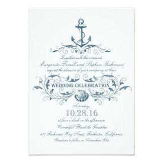 """el boda náutico del ancla y de playa del seashell invitación 5"""" x 7"""""""