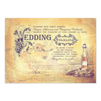 """El boda náutico del faro viejo del vintage invita invitación 5"""" x 7"""""""