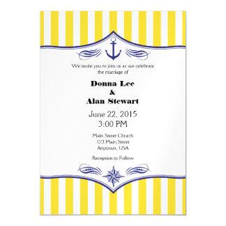 El boda náutico magnético azul amarillo invita