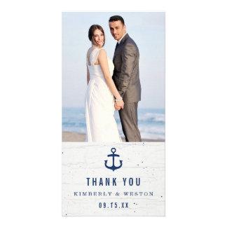El boda náutico rústico le agradece cardar/marina tarjetas fotograficas personalizadas