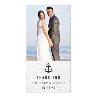 El boda náutico rústico le agradece tarjeta de la plantilla para tarjeta de foto
