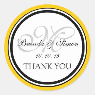 El boda negro amarillo del monograma M le agradece Etiqueta Redonda