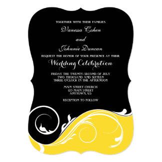 """El boda negro amarillo del soporte del remolino invitación 5"""" x 7"""""""