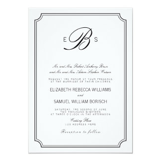 """El boda negro blanco elegante del monograma con invitación 5"""" x 7"""""""