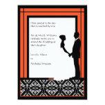 El boda negro, blanco y anaranjado del damasco invitaciones personales