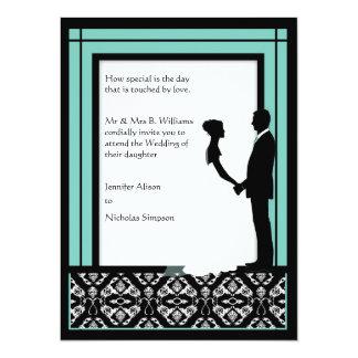 El boda negro, blanco y azulverde del damasco comunicado