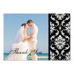 El boda negro de la foto del damasco le agradece invitación 8,9 x 12,7 cm