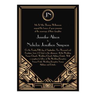 """El boda negro del estilo de Gatsby del art déco Invitación 5"""" X 7"""""""