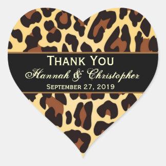 El boda negro del leopardo del oro le agradece nov calcomanía de corazón personalizadas
