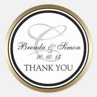 El boda negro del monograma C del oro le agradece Pegatina Redonda