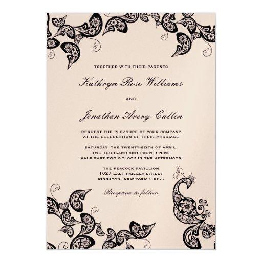 El boda negro floral elegante del pavo real del invitación 12,7 x 17,8 cm