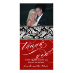 El boda negro rojo del damasco le agradece tarjeta tarjetas fotográficas